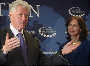 Former U.S. President Bill Clinton and American Beverage Association CEO Susan Neely