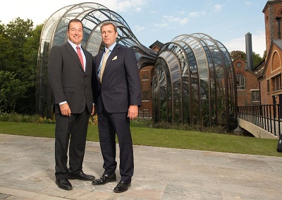 Facundo L  Bacardi and Bombay Sapphire Master Distiller Nik Fordham at the official opening of the Distillery at Laverstoke Mill