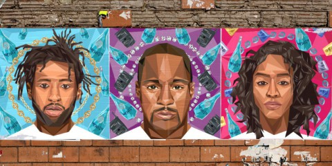 Portraits of Hpnotiq #Since2001 ambassadors Yung Jake, Cam'ron and Va$htie Kola, created by artist and brand collaborator Naturel. (PRNewsFoto/Heaven Hill Brands)