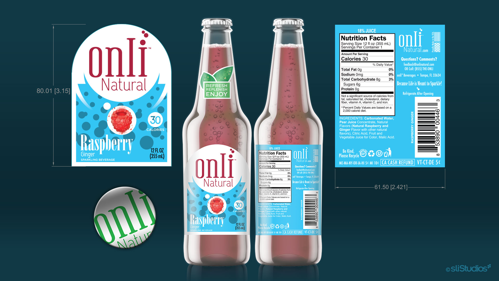Onli Natural Label and Bottle Cap