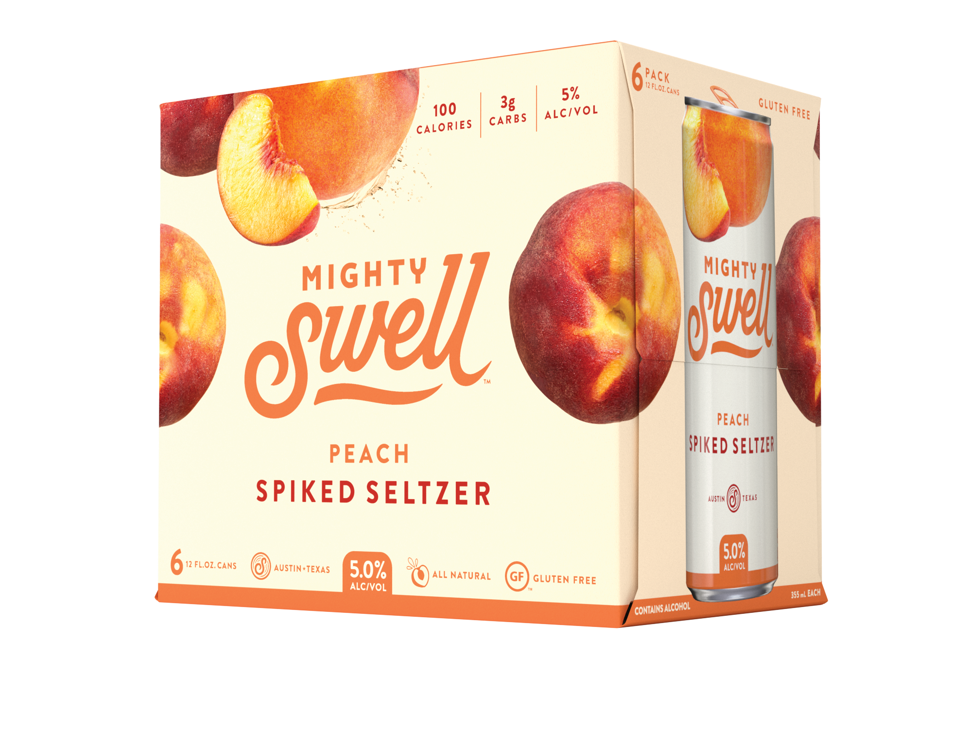 Mighty Swell Peach Spiked Seltzer | 6 Pack