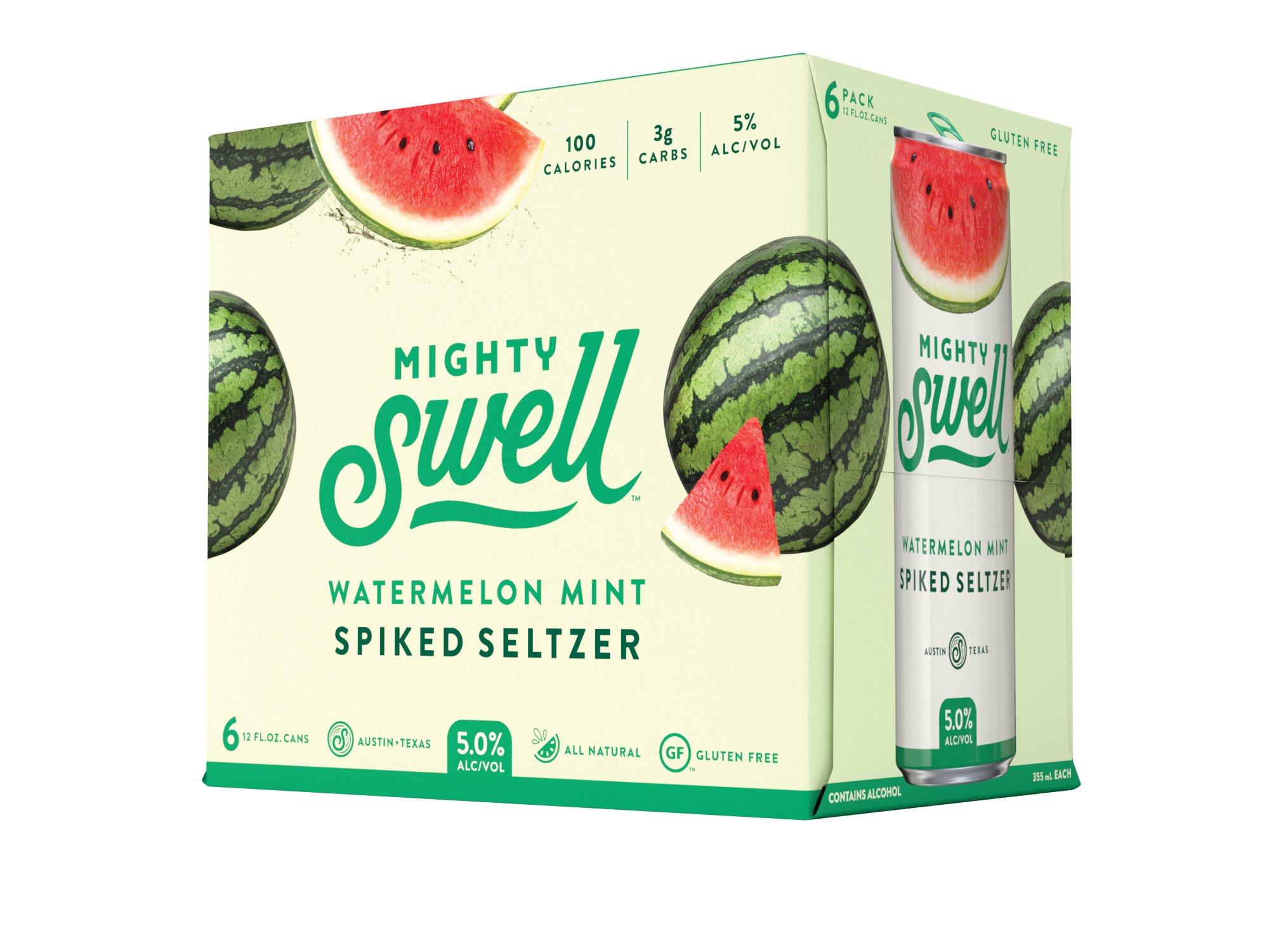 Mighty Swell Watermelon Mint Spiked Seltzer | 6 Pack