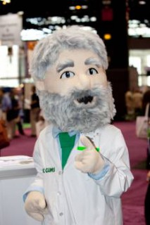 The TIC Gums Mascot isn't trendy, but he's still at IFT.
