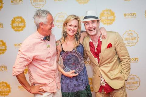 Awards Presenters Jason Crawley (left) and Philip Duff (right) celebrate Brooke Arthur's Best American Brand Ambassador distinction at the 2015 Tales of the Cocktail Spirited Awards on July 18, 2015 at the Sheraton Hotel in New Orleans