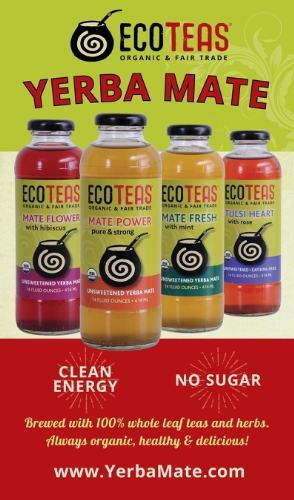 New Line Of 'Clean Energy' Iced Teas From ECOTEAS.  Beverages Feature Expertly Brewed Yerba Mate With No Extracts Or Concentrates.  The Product Line Is 100% Unsweetened. (PRNewsFoto/ECOTEAS)
