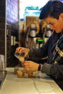 Zoe Feldman pours samples at DRINK.