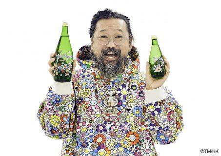 Brand New Limited Edtion Takashi Murakami Perrier Glass Bottle Large size