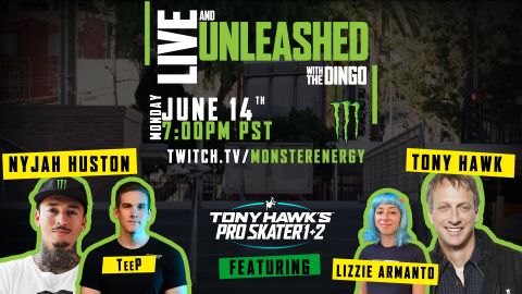 """Monster Energy To Host Tony Hawk, Nyjah Huston, Lizzie Armanto, Tyler """"TeeP"""" Polchow In 'Live And Unleashed' Twitch Stream Battle"""