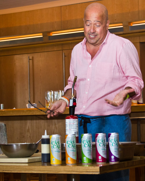 Andrew Zimmern discusses CASCAL while preparing the small dishes.