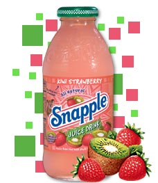 Snapple drinks, like Kiwi Strawberry, gained momentum with real fruit juice as the sweetener.