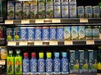 Coconut water is a big seller in Whole Foods -- as this shelf indicates